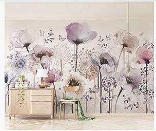 NIdezuiai Murals,Custom 4D Wallpaper Plant Series Light Purple Flower Art Print Wall Painting Hd Print Poster for Living Room Tv Backdrop Bedroom Hotel Decor Large Silk Mural 60Cm(H)×120Cm(W)