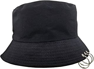 Unisex Bucket Hat Kpop Caps with Rings Fisherman-Cap with Iron Rings