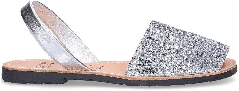 RIA MENORCA Women's 212241 Silver Glitter Sandals