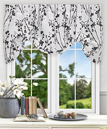 Simple Comfort Meadow Textured Open Floral Pattern (Tie-Up Valance, 50 x 22, Chrome)