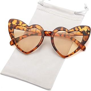 Heart-Shaped Sunglasses Women Vintga Black Pink Red Heart...