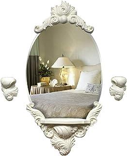 KTYXGKL European White Bathroom Round Carved Waterproof Wall Mirror Bathroom Fashion Vanity Mirror 88cm Makeup Mirror