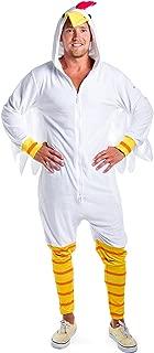 Funny Adult Men's Chicken Costume for Halloween - White Chicken Suit Chicken Onesie for Men