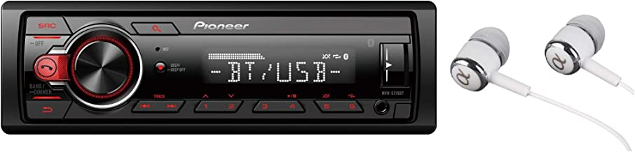 Pioneer MVH-S215BT Stereo Single DIN Bluetooth In-Dash USB MP3 Auxiliary AM/FM Android Smartphone Compatible Digital Media Car Stereo Receiver With ALPHASONIK Earbuds