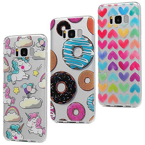 3x Funda para Samsung Galaxy S8 Plus, Carcasa Silicona Gel Case Ultra Delgado TPU Goma Flexible [Proceso IMD] No se descolora Anti-scrach Cover - Donuts + Corazones + Unicornio