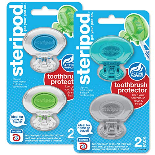 Steripod Clip-On Toothbrush Protector, Clear Blue/Clear Green/Blue/Silver, 4 Count