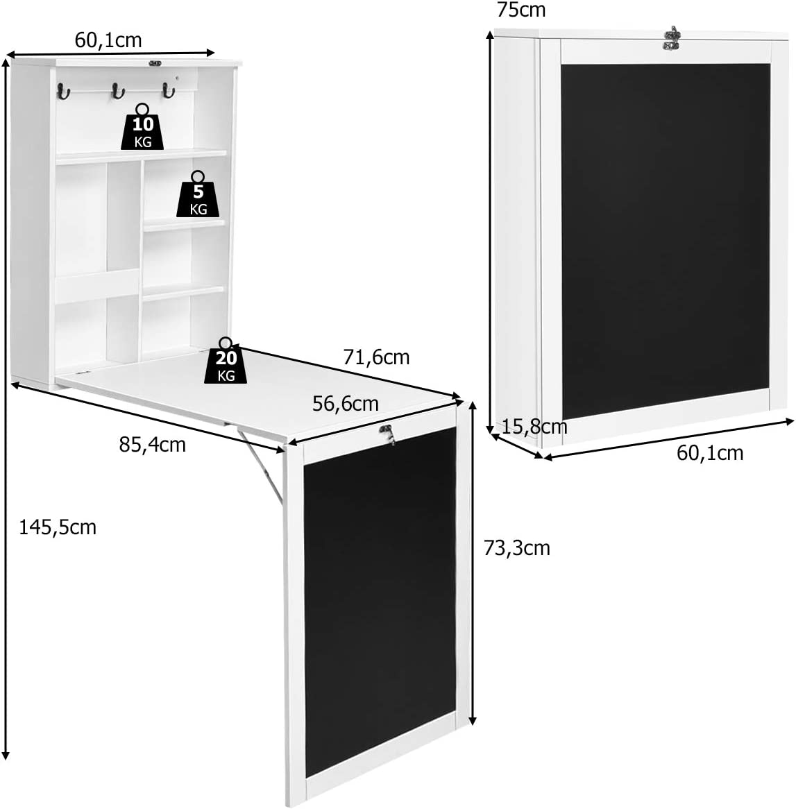 Blanc Salons Chambres DREAMADE Bureau Mural Rabattable,Table Murale Pliante en MDF avec 6 /Étag/ères pour Bureaux