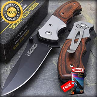 10 x 7'' TAC FORCE SPRING ASSISTED PAKKAWOOD FOLDING KNIFE Razor Sharp Blade Wholesale Lot Combat Tactical Knife + eBOOK by Moon Knives