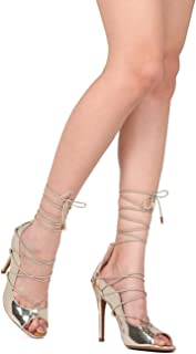 Alrisco Women Reptile Peep Toe Lace Up Ankle Wrap Stiletto Pump HI12