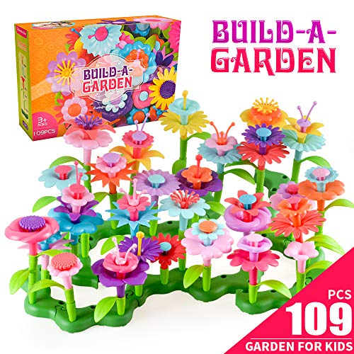 Birthday Gifts for 3-7 Year Old Girls, Kids Flowers Garden Toys Set for Girl Age 4 5 6 Toddlers Kid Educational Toy Gift DIY Bouquet Floral Craft Kid Present for 4-9 Year Old Child Boy Xmas Gift