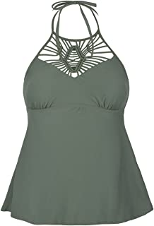 Mycoco Women's Swimwear High Neck Swimsuit Halter Tankini Ruffle Swim Top Bathing Suit