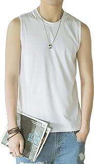 (BaLuoTe)メンズ タンクトップ 夏 無地 ゆったり トップス ロングT ノースリーブ 通気 インナーキャミソール コットン 着痩せ tシャツ シンプル 吸汗速乾