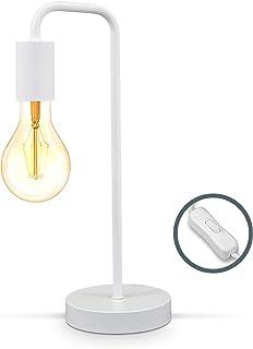 B.K.Licht Lampe de table rétro, lampe de lecture en forme de lampadaire courbé, métal blanc mat, douille E27, câble avec i...