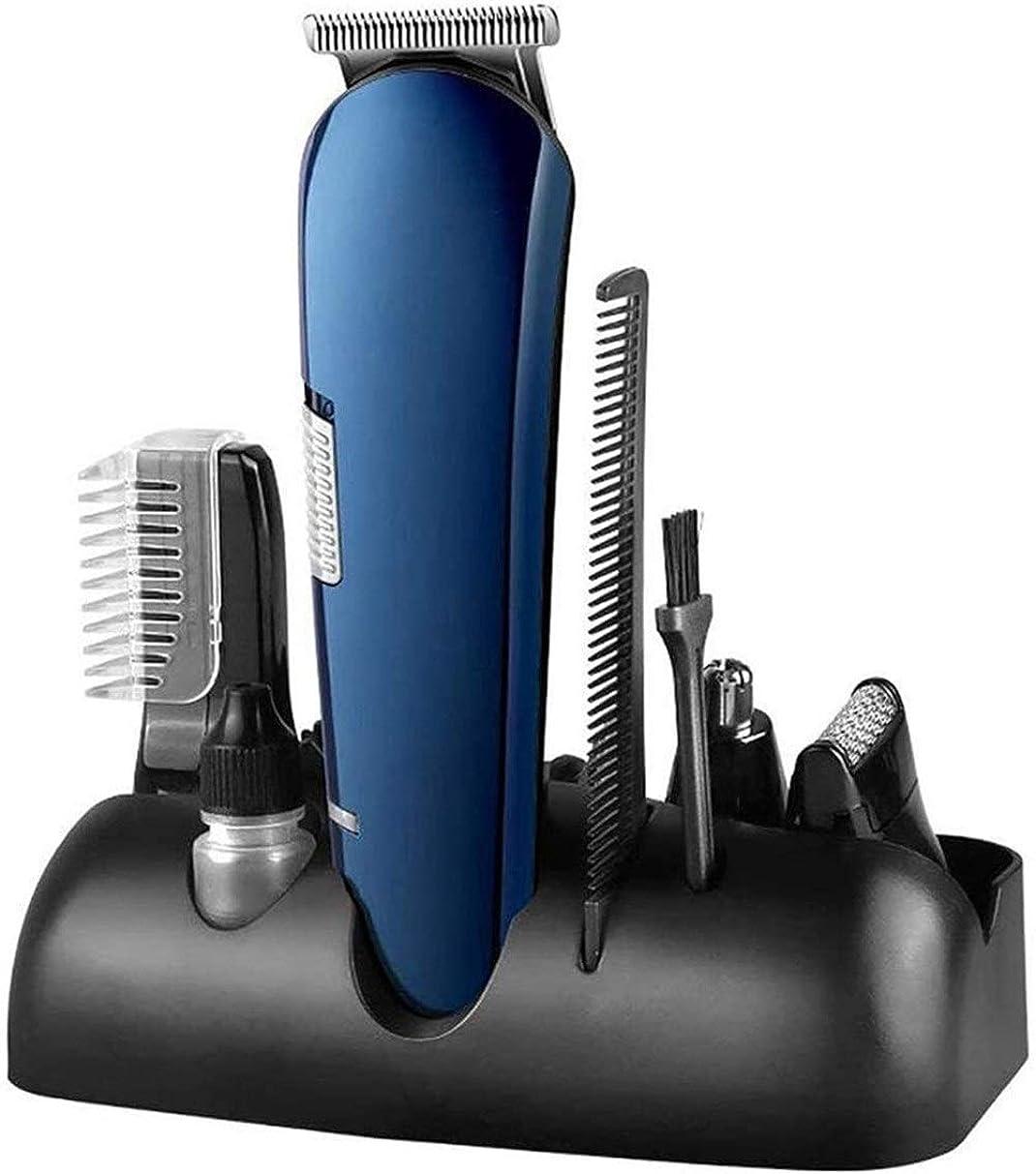 欲求不満テロ駐地LMCLJJ 5-IN-1の電気バリカンキット、Anselfコードレス充電式低ディテール&グルーミングヘアーカットキットのためのガイドくし&鼻毛リムーバーとノイズあごひげ口ひげシェーバーヘアートリマー (Color : Blue)