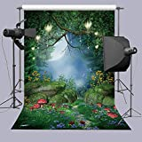 DANIU Enchanted Forest Backdrop Mushrooms Fairy Moon Lanterns Photo Background 5x7ft Wonderland Forest Backdrops for Children Kid's Birthday Party Studio Props (5x7FT(150cmx210cm))