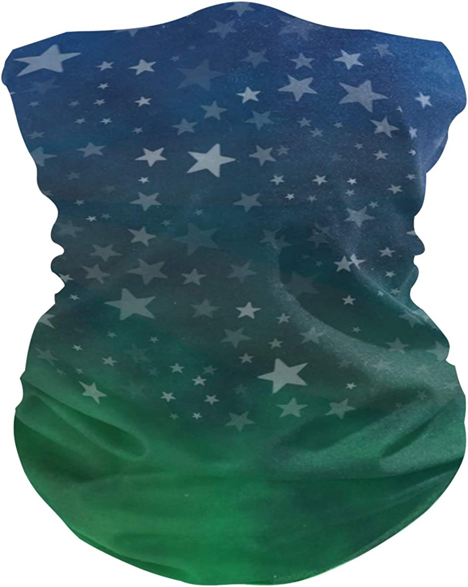 Blue Green Stars NightPrint Headband Face UV Sun Protection Mask Neck Gaiter Magic Scarf Bandana Headwear Balaclava for Women Men