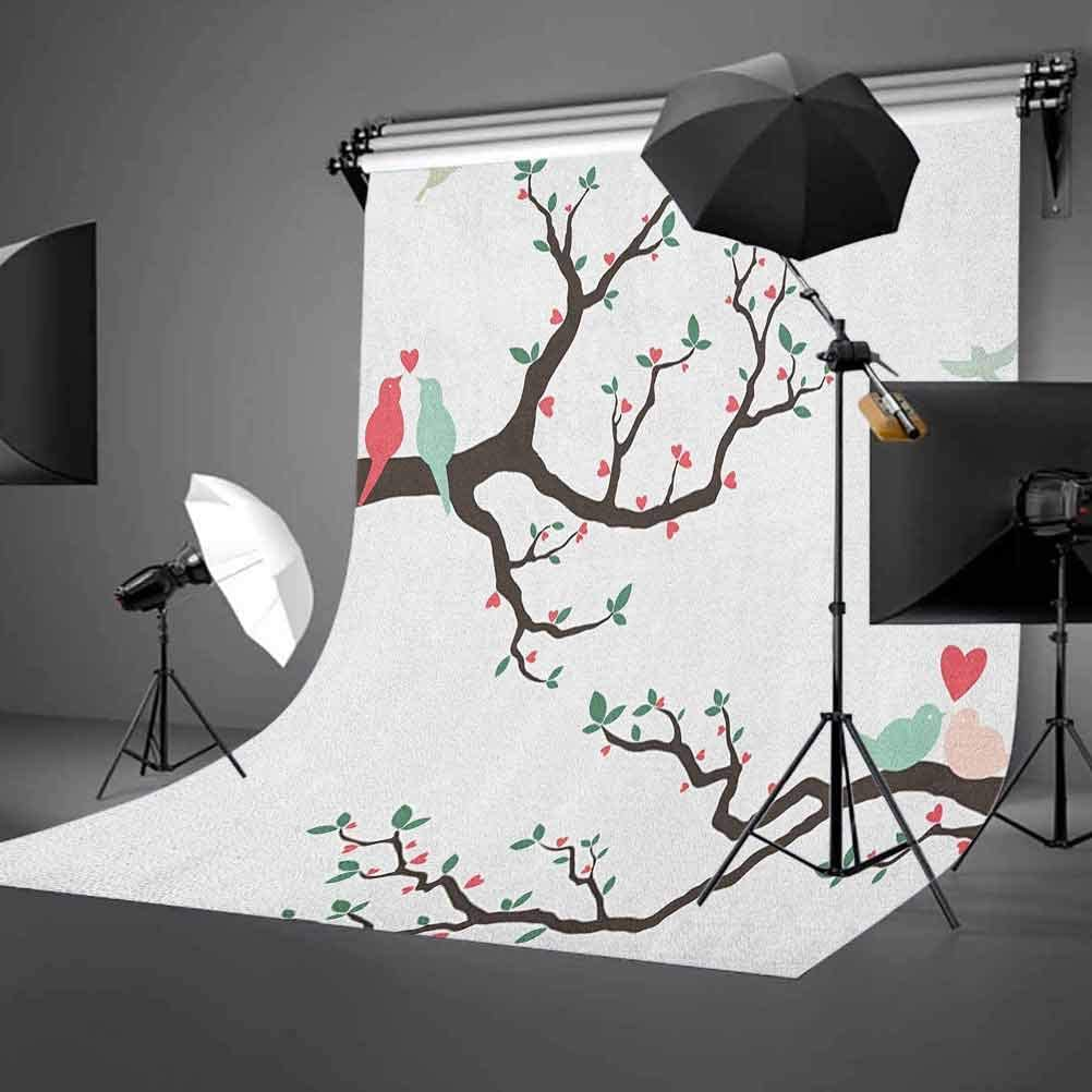 8x12 FT Love Vinyl Photography Background Backdrops,Birds on The Tree Serenade Nostalgic Partners Ceremony Valentines Romance Theme Background Newborn Baby Portrait Photo Studio Photobooth Props