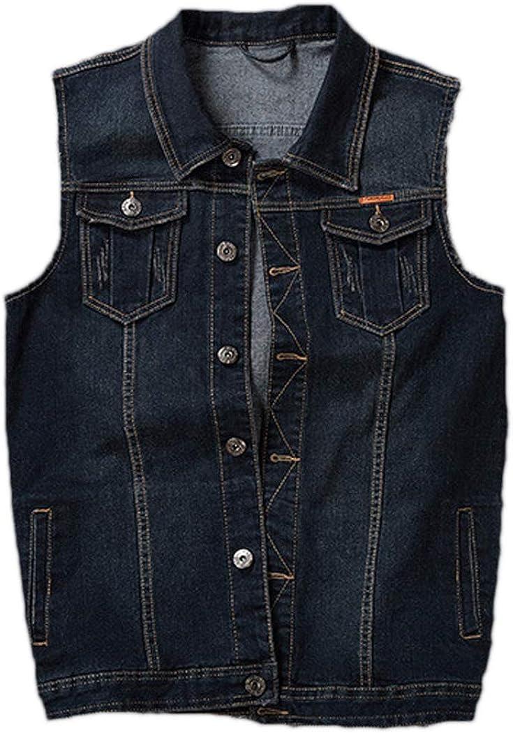 Azastar Men's Denim Vest Sleeveless Button Down Casual Large Size Jeans Vest