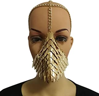 MeterMall Unique Metal Head Chain Mask Face Jewelry for Halloween Cospaly Party Fancy Dress Ball Gift