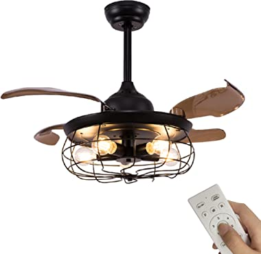 """42"""" Industrial Retractable Ceiling Fans with Lights, Fandelier Caged Ceiling Fan With Remote Controller Vintage Style For Far"""