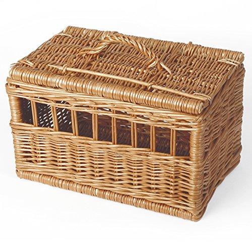 Weidenprofi Tiertransportkorb, Transportbox für Tiere aus geschälter Weide, Tierkorb für Katzen und kleine Hunde - Größe (LxBxH): 50 x 30 cm, 30 cm hoch