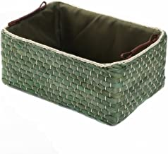 "(Green Small:12.60"" Lx8.66 Wx5.51 H) - Kingwillow,Woven Maize Storage Baskets & Bins with Handle(Rectangular,Green Small:3..."