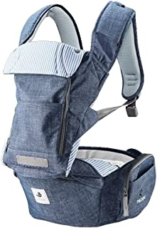 Pognae No 5 All New Outdoor Organic Baby Hipseat Front Backpack Carrier Ergonomic Design for Parents (Blue-Denim Style Melange)