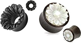 2 Pairs of Organic Black Flower Mother of Pearl Wood Hand Carved Ear Plugs Tunnels Gauges 0g 00g 1/2 9/16 5/8 3/4 7/8 1 Inch