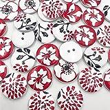 Bigbarry Vistoso 50 unids Flores Botones 2 Agujeros Botones de Madera Botones de Costura Artesanía Scrapbooking Ropa Accesorios Exquisito