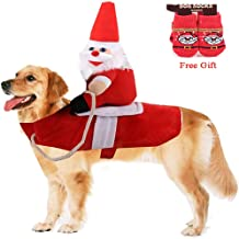 Vikedi Dog Christmas Costumes, Dogs Santa Claus Costume with Dog Socks, Adjustable Pet Dog Clothes Christmas Party Cosplay Decoration, Pet Costumes Apparel for Medium and Big Dog Dress Up