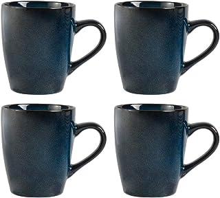 ProCook Vaasa - Vaisselle de Table en Grès - 4 Pièces - Grande Tasse/Mug - Glaçure Réactive - Bleu