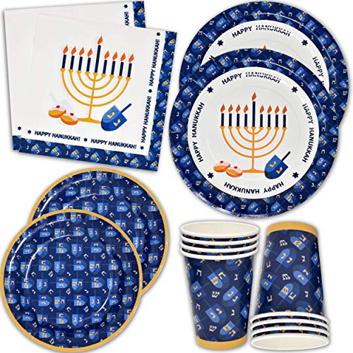 Hanukkah Plates and Napkins for 24 Guests Includes 24 9' Dinner Plates 24 7' Dessert Plates and 48 Luncheon Napkins Party Paper Plate Goods Supplies Decorations for Dinner Parties