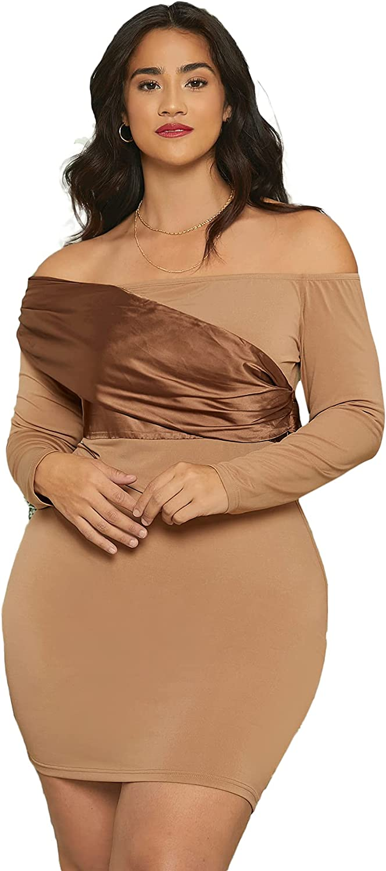 Romwe Women's Plus Size Off The Shoulder Bodycon Dress Long Sleeve Party Dress