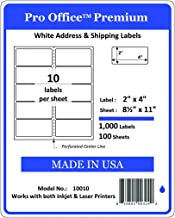 Pro Office Premium 1000 Self Adhesive Shipping Labels for Laser Printers and Ink Jet Printers, White, Made in USA, 2 x 4 Inches, Pack of 1000