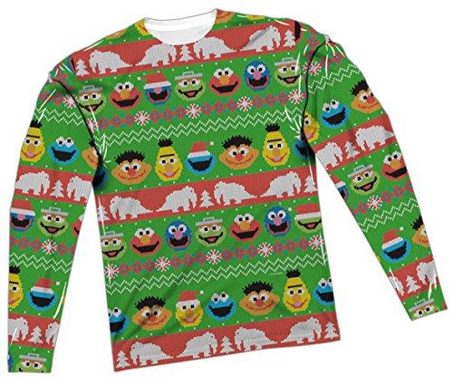 Sesame Street Ugly Christmas Sweater All-Over Long-Sleeve T-Shirt, Medium White