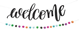 Bright Classroom Welcome Banner with Pom-Poms (almost 5 feet long) Event, Party and Classroom Decor