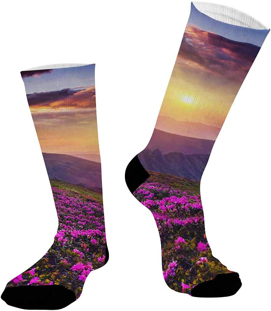 INTERESTPRINT Sublimated Crew Casual Athletic Socks Magic Rhododendron Flowers