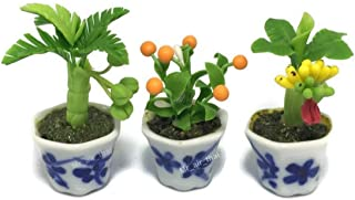 3pc Miniature Flower Clay Dollhouse Fairy Garden Mini Plant Trees Ceramic Paint Furniture Bundles Artificial Flowers Tiny Orchid #094