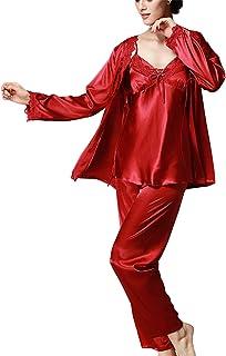 طقم منامات حريمي من Asskyus بأكمام طويلة من الساتان، ملابس نوم نسائية بخياطة دانتيل مع حزام من ثلاث قطع