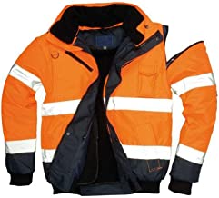 Brite Safety High Visibility 3 in 1 Contrast Bomber Jacket For Men and Women - Tactical Jackets Hi Vis Waterproof Rain Gear (Orange/Navy, Medium)