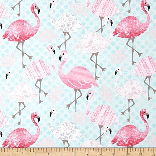 Timeless Treasures 0411298 Flamingos Aqua Fabric by The Yard
