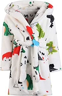 Kids Robe Soft Fleece Hooded Bathrobe Sleepwear for Girls Boys (White, 8 Years)