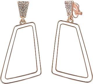 VOGEM Large Clip On Hoops Earrings For Women Geometric Rhinestone Crystal 18K Rose Gold Plated Clips Earings