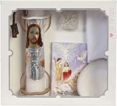 Baby Boys and Girls Baptism Candle Set for Christenings with Shell, Rosary, Missal Book, Handkerchief #BC5172 English