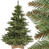 FairyTrees künstlicher Weihnachtsbaum NORDMANNTANNE, grüner Stamm, Material PVC, inkl. Holzständer, 150cm, FT14-150