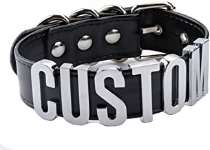 AccessCube Customized Choker Collar Necklace PU Leather Custom Personalized Name Choker Custom Name Necklace Women