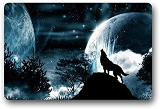 Door Mat Wolf Howling Under The Moon and Mar in Night Rectangle Front Door Mat Large Outdoor Indoor Entrance Doormat Durab...