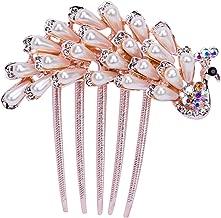 Shang Jie Princess Fashion Rhinestone Crown Tiara Hair Comb Headwear Pearl Peacock Hairpin for Women Hair Accessories