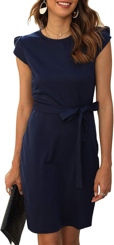 Manydress Women's Dresses Elegant Cap Sleeve Round Neck Mini Shift Bodycon Pencil Dress MY061