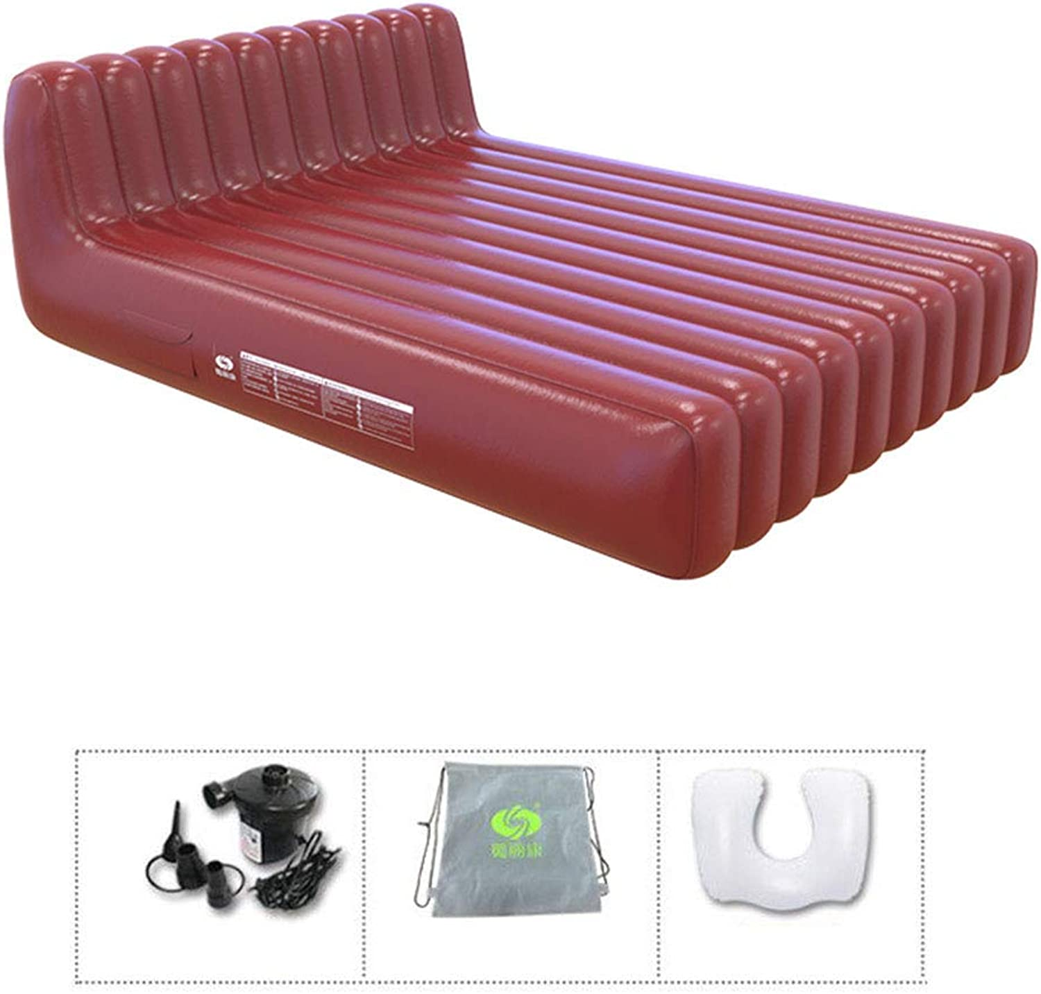 Double Deluxe Heightening Inflatable Electric Pump with A KingSize Thick PVC Inflatable Mattress Outdoor Portable Travel Pouch with Air Bed Rest